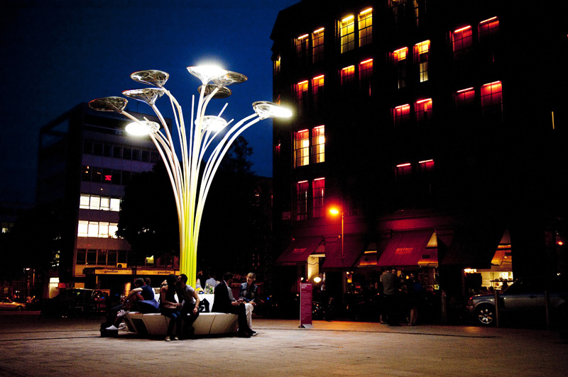 Solar tree street furniture - photograph by Ashley Bingham