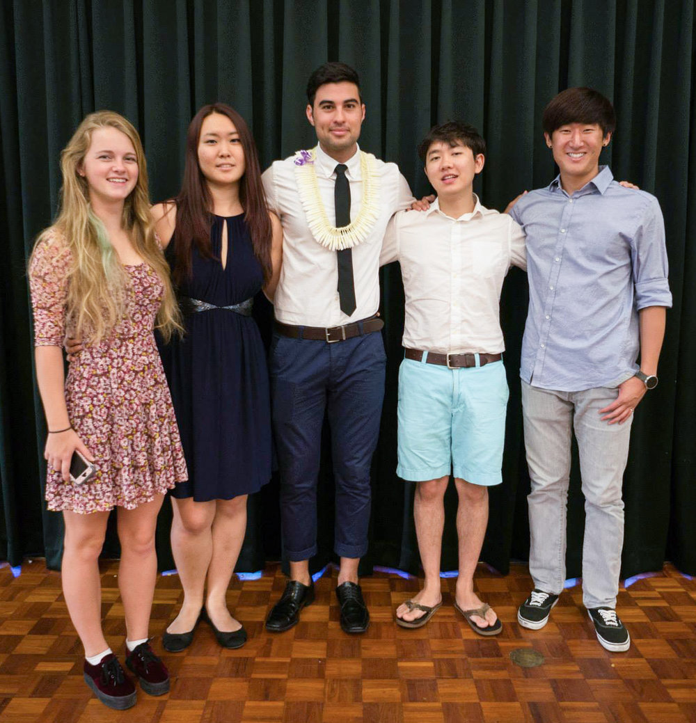 HKC co-founders pose together at the Hanwoori Hawaiʻi Banquet in the spring of 2015. (Left to right: Rocky Reinagel, Andrea Choe, Keoni Williams, Kyungmoo Kim, and Michael Choe.)
