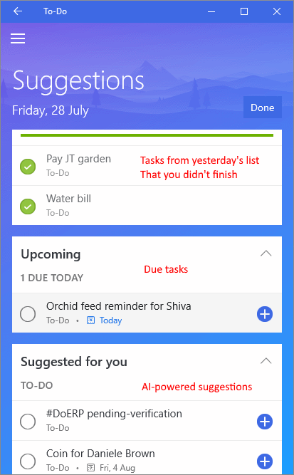 - Hit suggestions, and it shows you tasks from three categories that you can add to