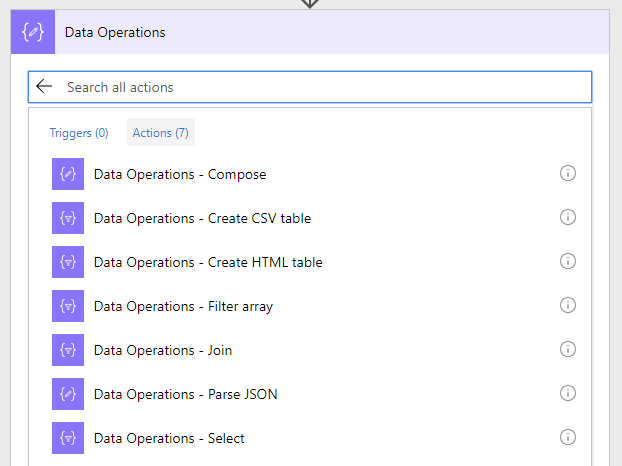 The Data Operations actions