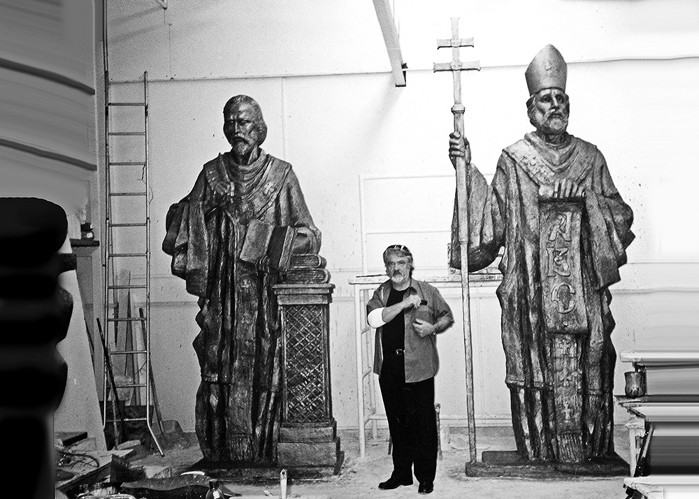during the works on the Vrbove church sculptures / St. Cyril & Metodius late '90s