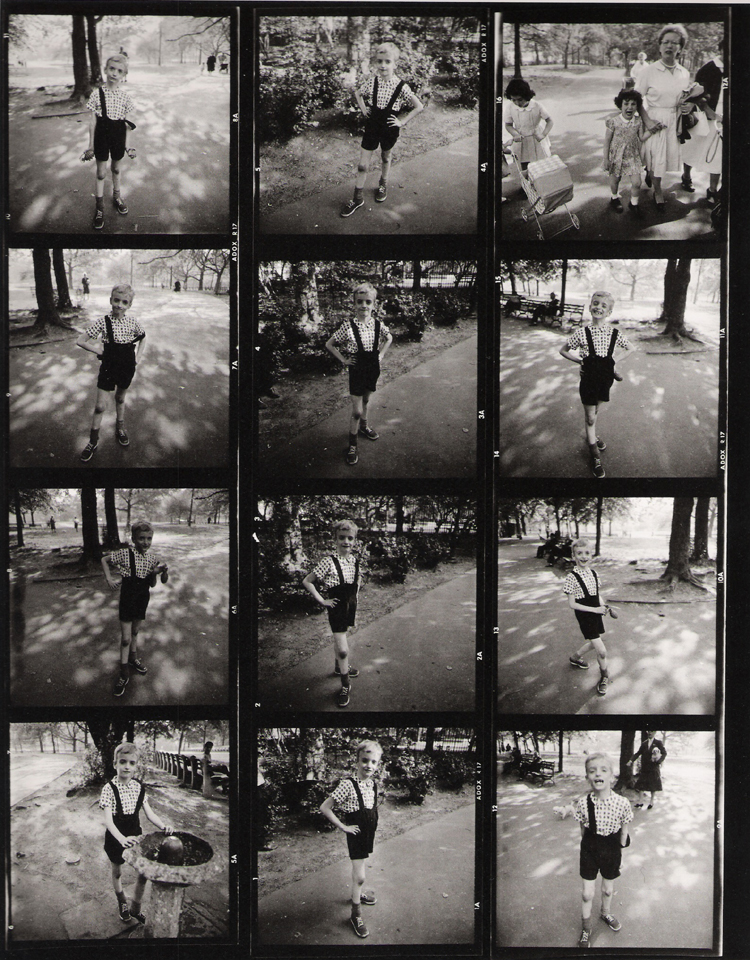 Diane Arbus' contact sheet including Child with Toy Hand Grenade in Central Park. New York City (1962)