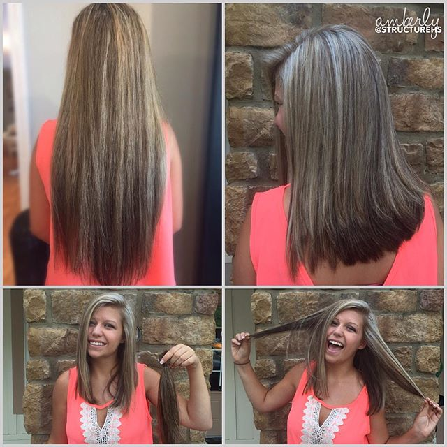 So long to having so long hair for so long! Peyton, you look stunning. Amberly, you  killed this color & angled cut. @amberlyanne210  #brave #change #byefelicia #structurehs 💇🏼👋🏼🙌🏼