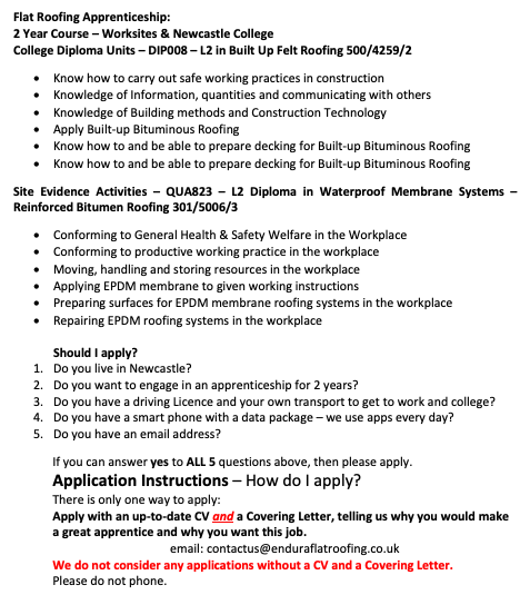 Apprentice Flat Roofer - 2 year course Worksites & Newcastle College. Circa 35 hours per week£3.70 - £5.00 in first year