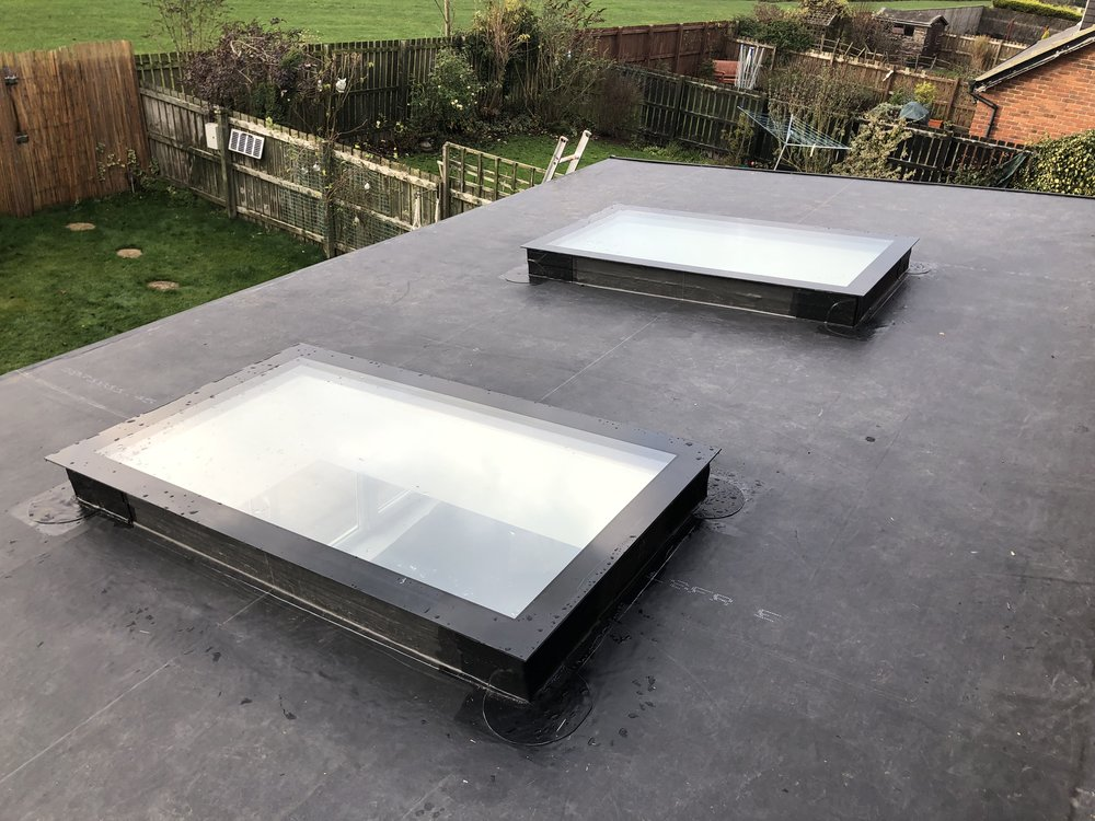 Leaking GRP fibreglass roof replaced with a Endura's Guaranteed Rubber Roofing in Bedlington, Newcastle.