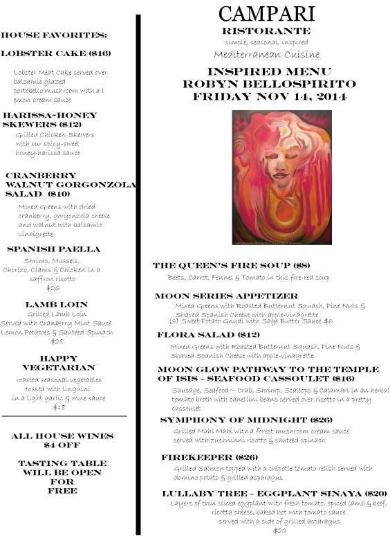 Campari Menu for Art Exhibition