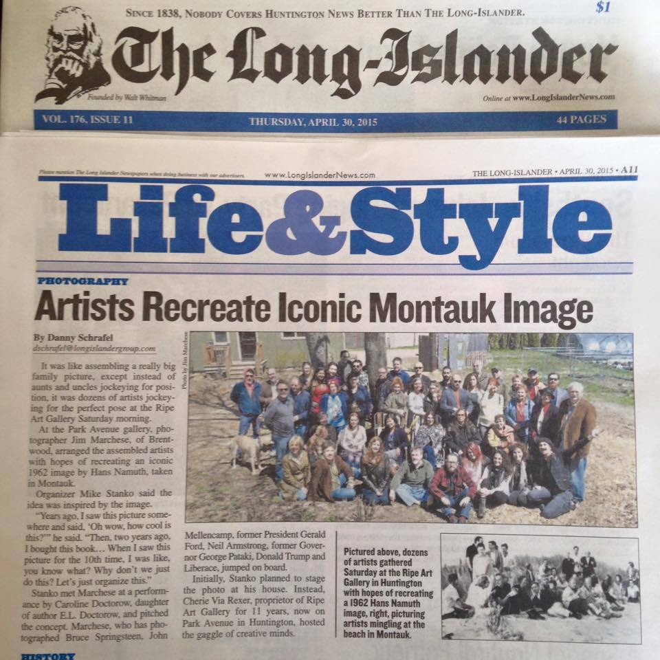 On Saturday, April 25, 2015, over forty Long Island artists met and posed together for one collective portrait at The Ripe Art Gallery in Huntington , N.Y. Under a beautiful spring sun, acclaimed photographer Jim Marchese took the photograph that just might have included the largest amount of known and emerging artists ever to pose together here on the Island.  The Ripe's owners, Robert and Cherie Via Rexer, along with all the artists – many of whom have exhibited at this celebrated gallery – without a doubt created an unforgettable and memorable morning! A great time was had by all.