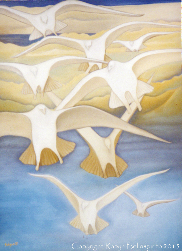 """Birds Like Angels"", oil on canvas. Copyright Robyn Bellospirito 2015."