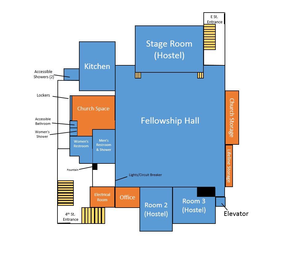 Floor plan for hostel space