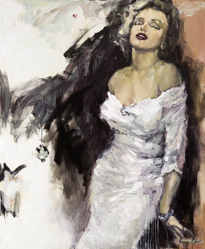 Marilyn, Leaning on the Wall - 60 x 60 inches, Oil and Acrylic on Canvas