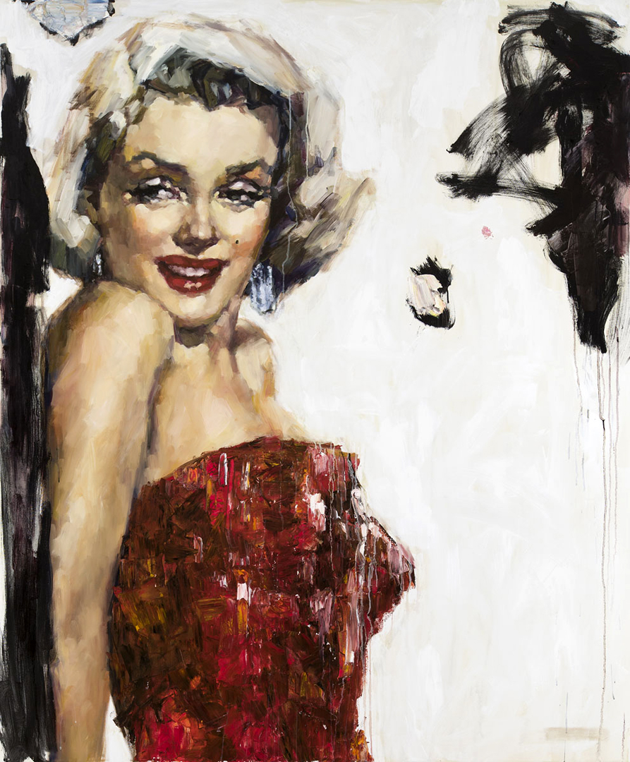 Marilyn in Red III - 60 x 72 inches, Oil and Acrylic on Canvas