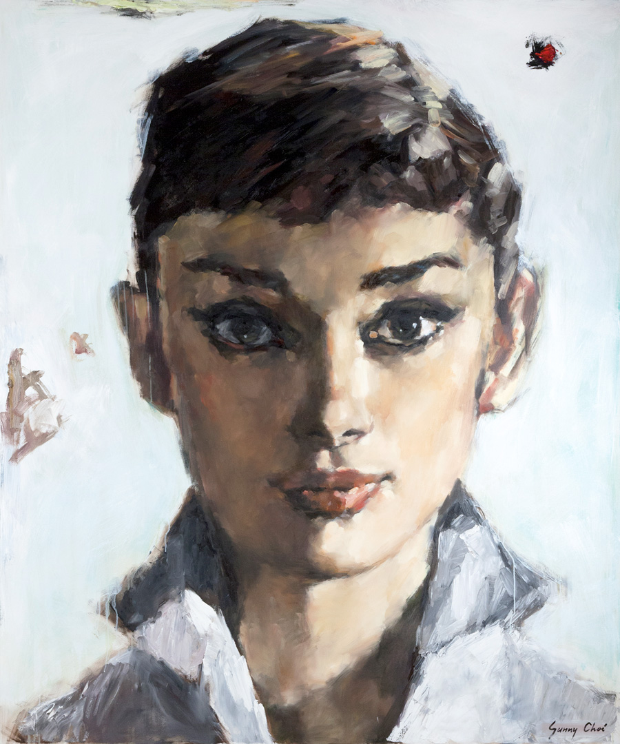 Audrey, A Closeup - 60 x 72 inches, Oil and Acrylic on Canvas