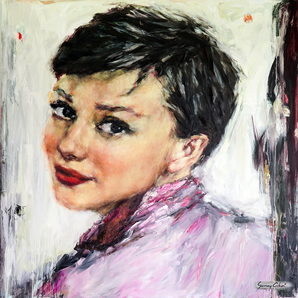 Audrey in Pink - 60 x 60 inches, Oil and Acrylic on Canvas