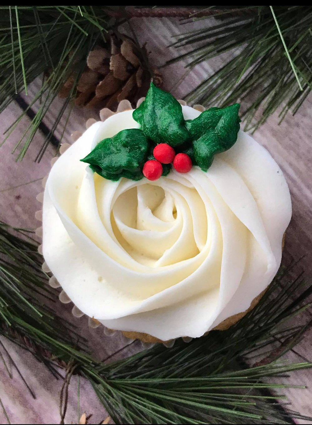 Holly Cupcakes - $30/dozen frosted with toppers