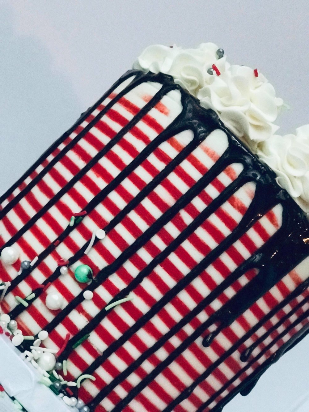Candy Cane Stripe Cake - $50 6 inch tall$65 8 inch tall
