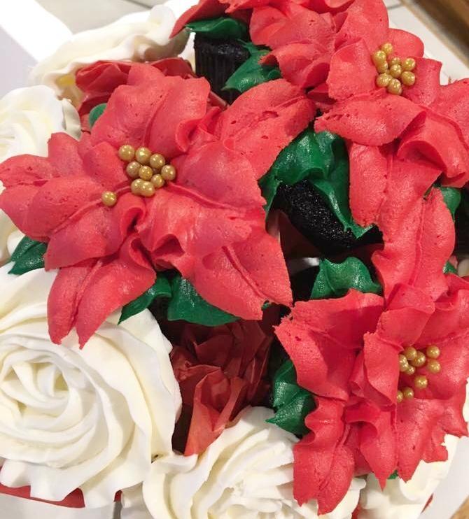 Poinsettia Bouquet - Large Bouquet 12-14 cupcakes $55