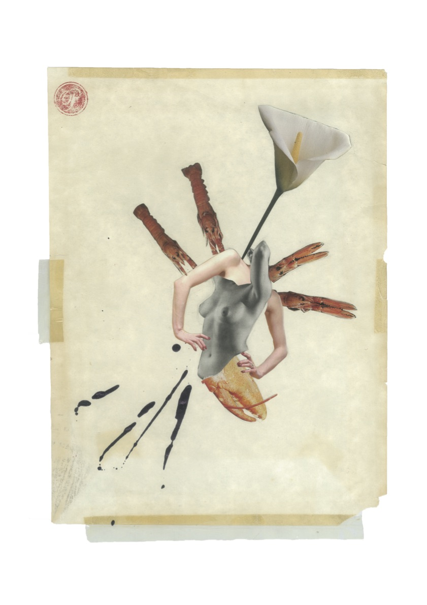 La Longoustine, Collage print on paper, 42x29.7cm