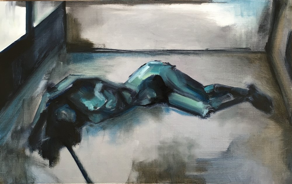 Nude in Room, Oil on canvas paper, 29.7x21cm