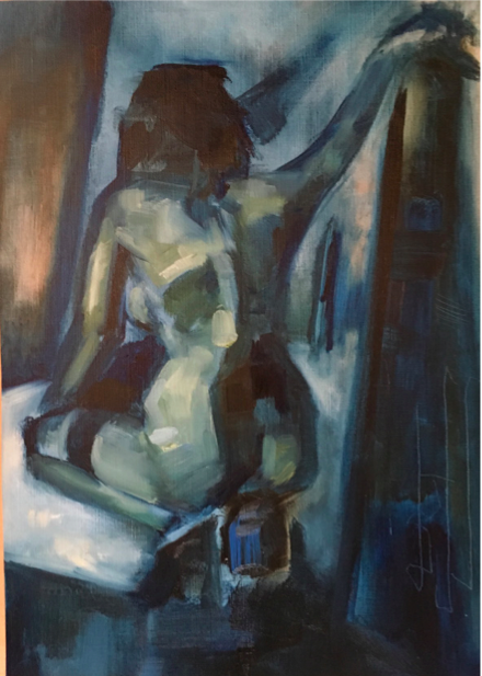 Blue Nude Crouching, Oil on canvas paper, 29.7x21cm