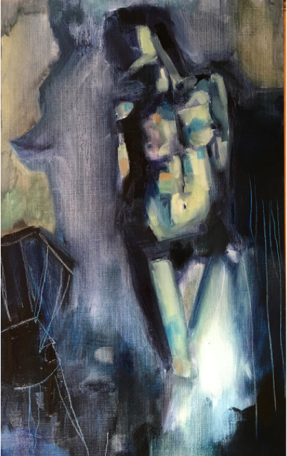 Blue Nude Standing, Oil on canvas paper, 29.7x21cm