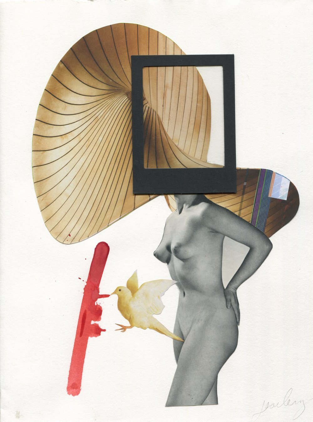 The Bird Feeder, Collage print on paper, 59.4x42cm
