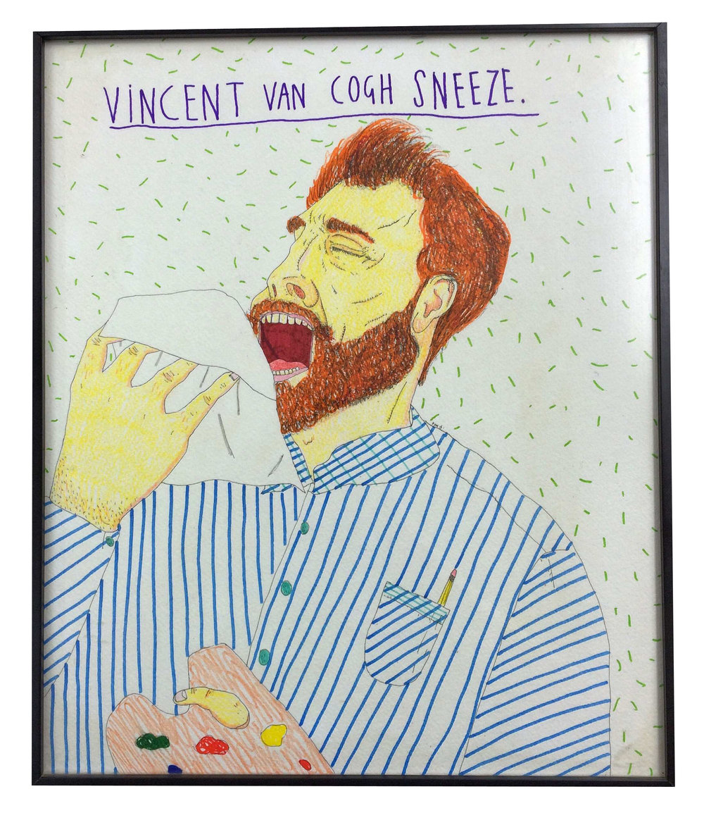Vincent Van Cogh Sneeze, Coloured pencils and ink on paper, 39x32cm