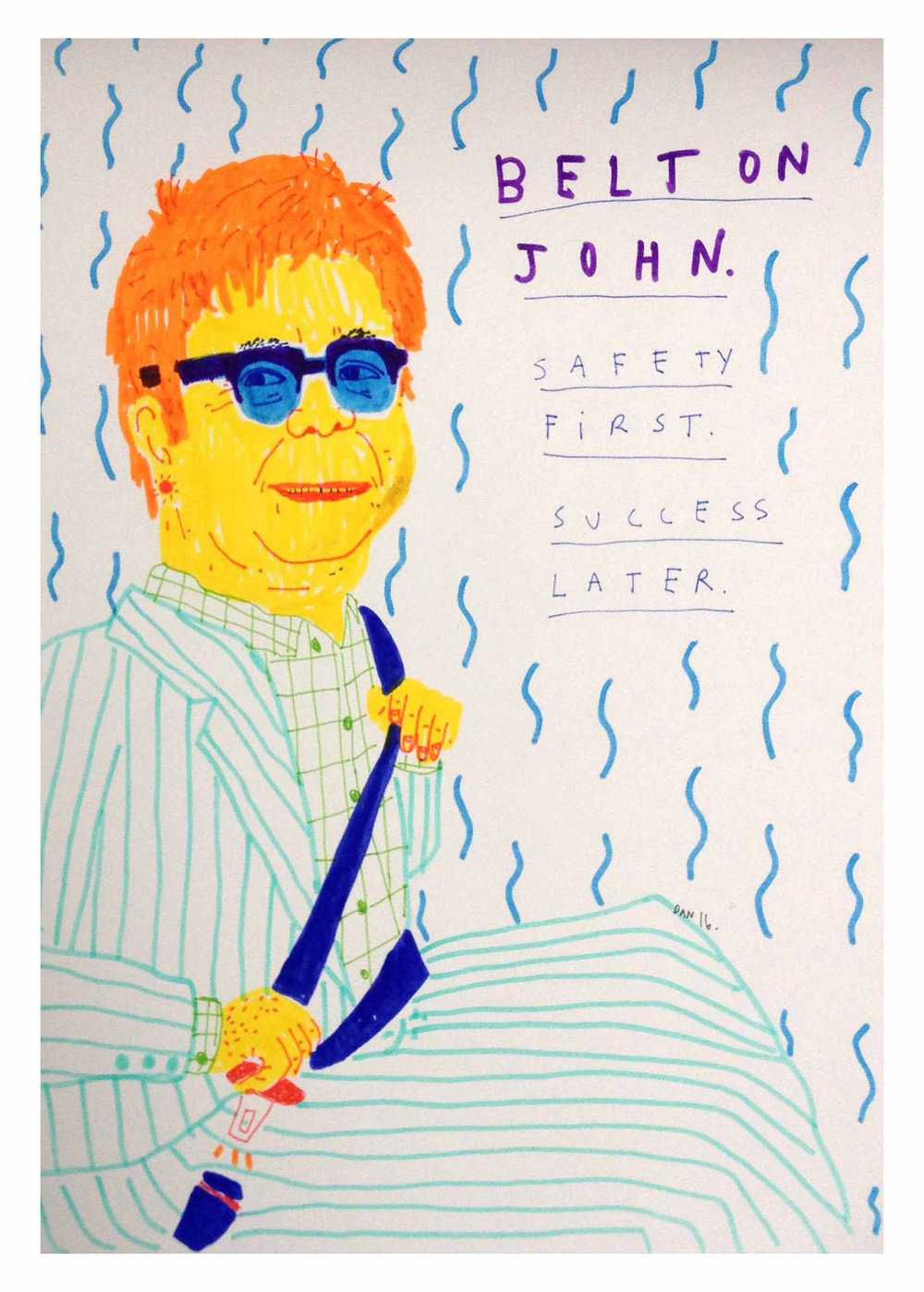 Belton John, Safety First, Success Later, Ink on paper, 34x28cm