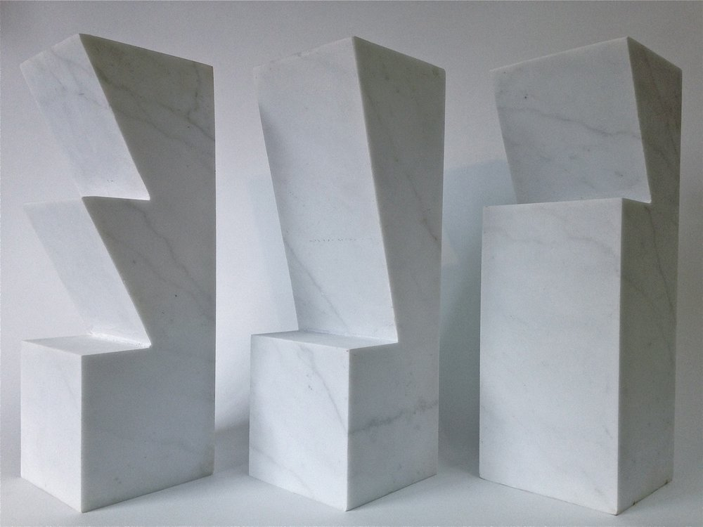 Monotones I II III, White Carrara Marble, 12x12x36cm