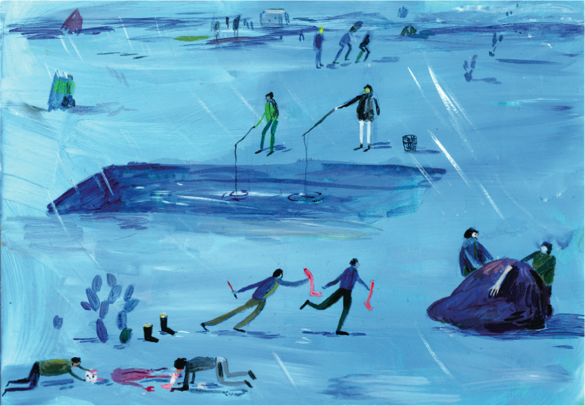 'Ice Fishing', acrylic on perspex, 21x29.7cm
