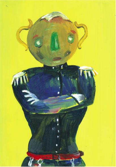 'Roundhead', acrylic on perspex, 21x15cm