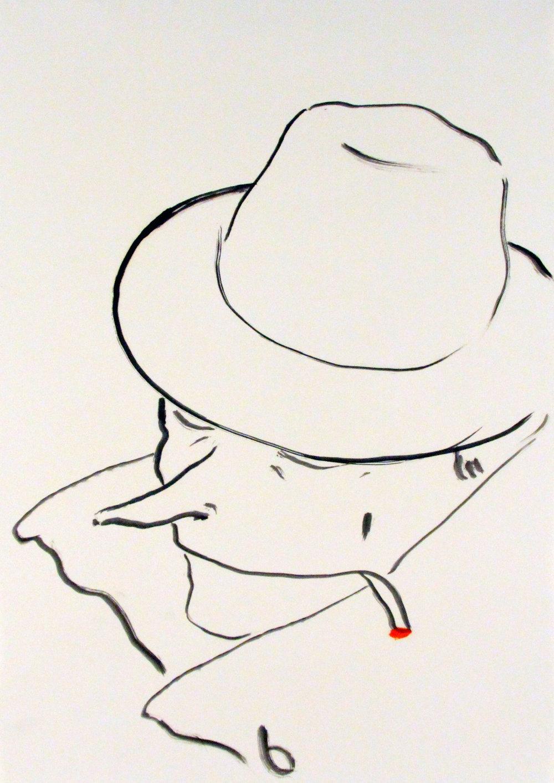 Portrait smoking (II)_42x29cm_Oil on paper.jpg