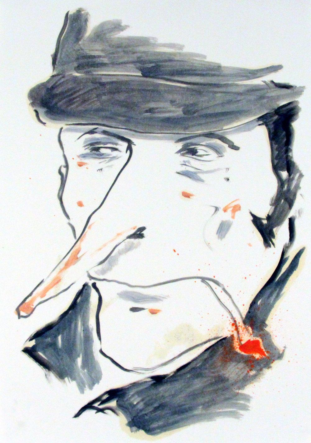 Portrait smoking_42x29cm_Oil on paper.jpg