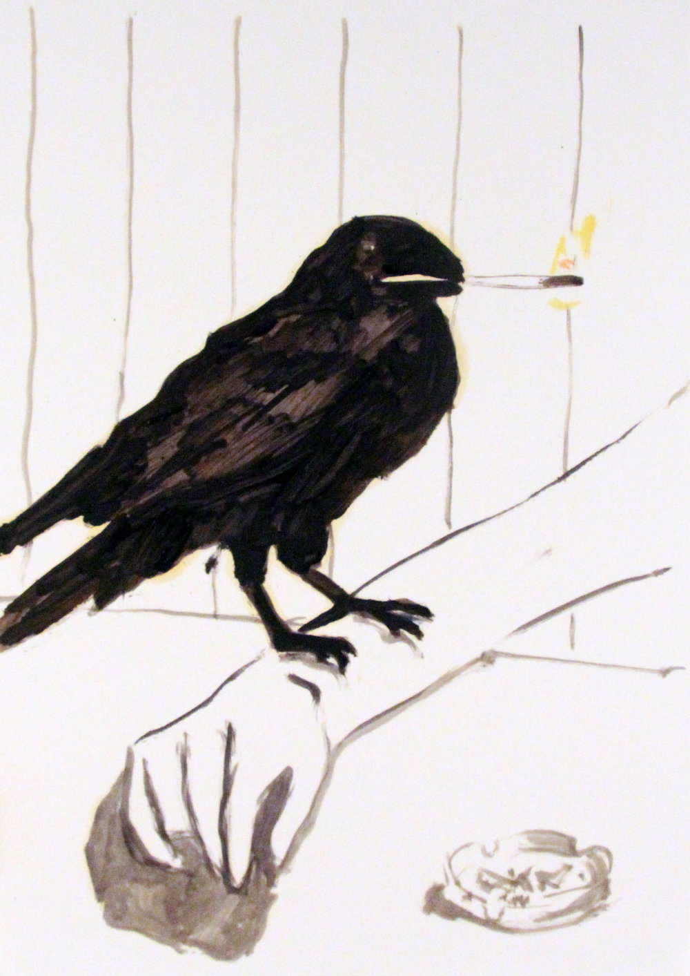 'Raven', Oil on paper, 42x29cm