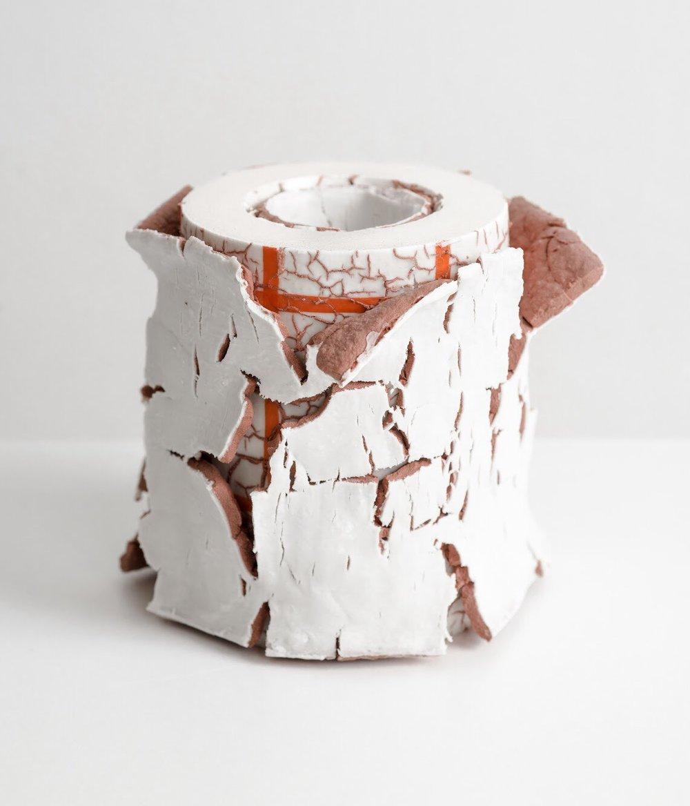 'Surface Archeology Vessel', 18x15cm, Porcelain, stoneware, pigments, glazes