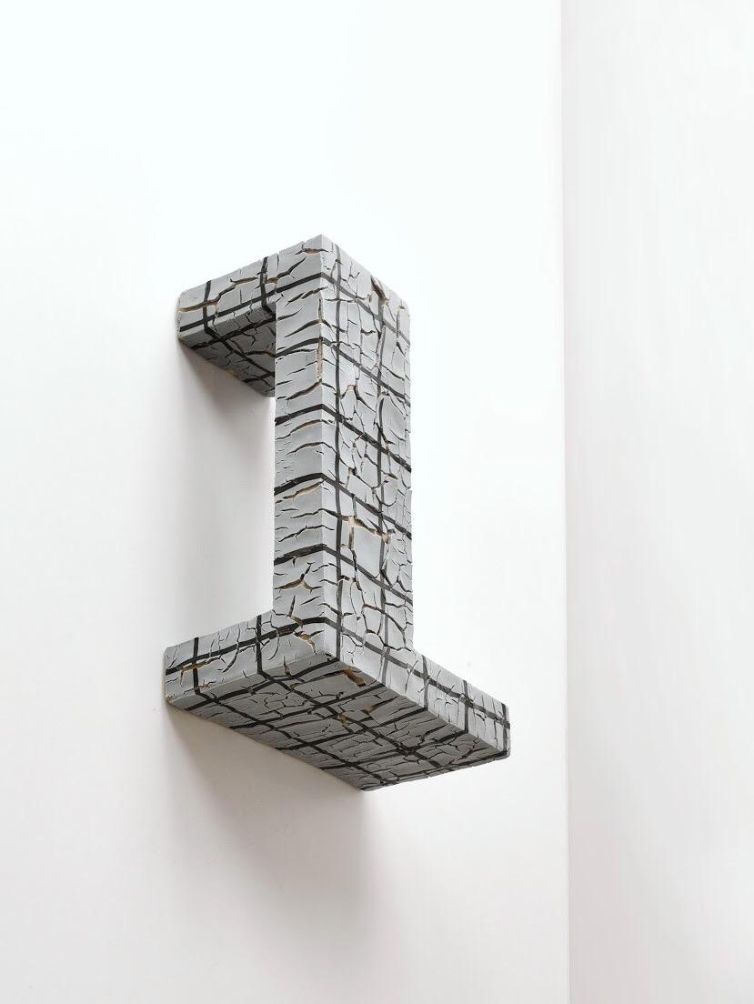 'Block Landscape in Grey', 28x24x15cm, Porcelain, stoneware, pigments, glazes
