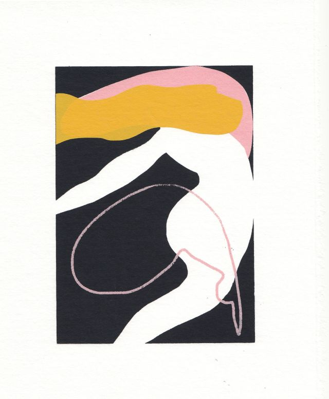 'Dancer', Screen print on Japanese washi paper, 24x19cm
