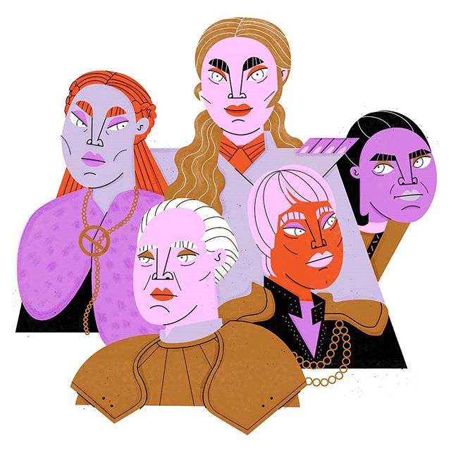 Some of the #gameofthrones ladies. . . . . #illustrationnow #illustration_daily #illustratorsoninstagram #illustrationart #illustration #womenwhodraw #womenillustrators #illustrator #got #editorialillustration