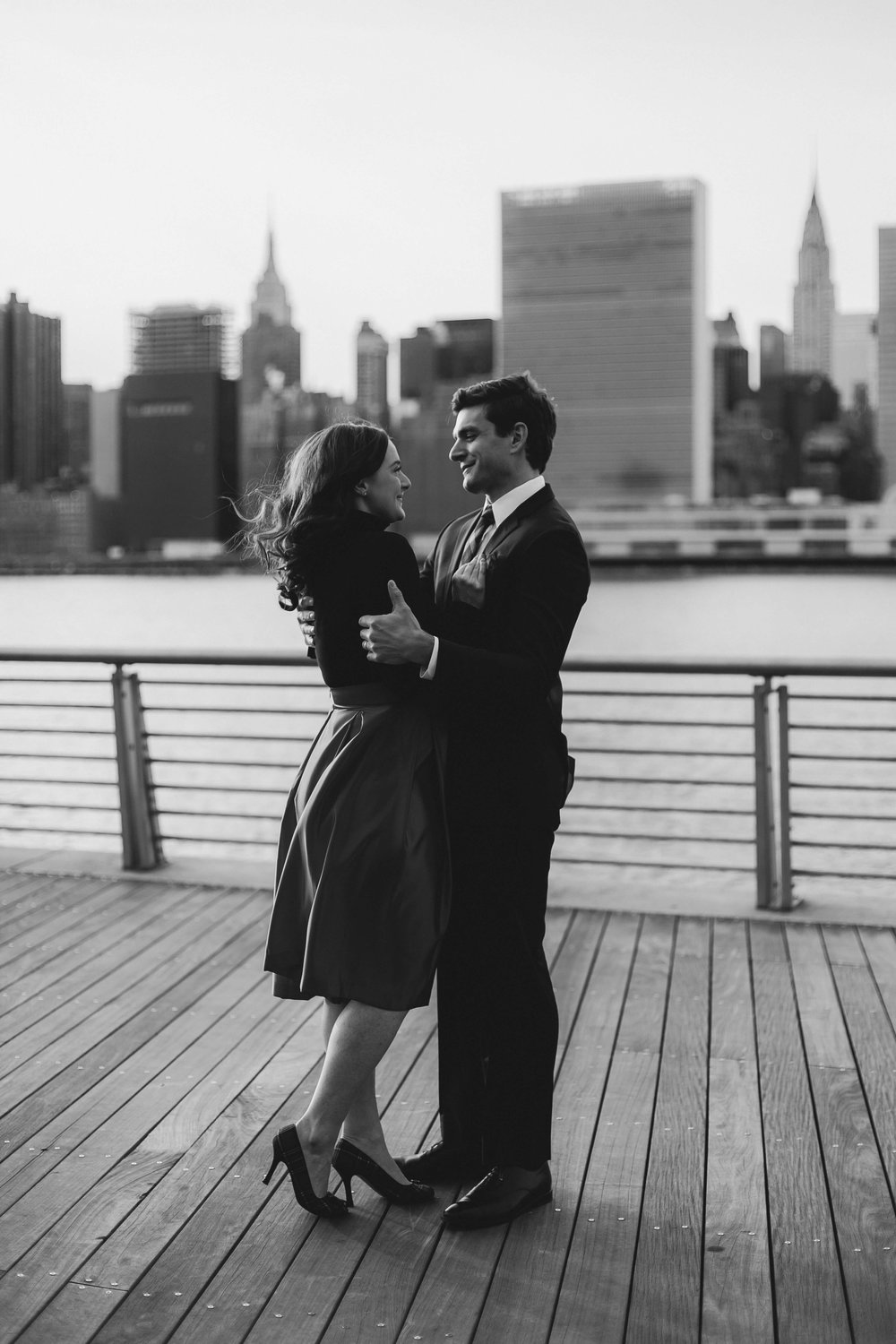 NYC Couple's Shoot- Waterfront at LIC black and white
