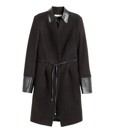 Fall to Winter Outer Wear Must Haves | Black Coat with Leather Accents H&M