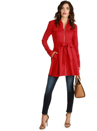 Fall to Winter Outer Wear Must Haves | Red Winter Coat with Bowtie Windsor Store