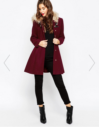 Fall to Winter Outer Wear Must Haves | Asos Maroon Coat Faux Fur Collar