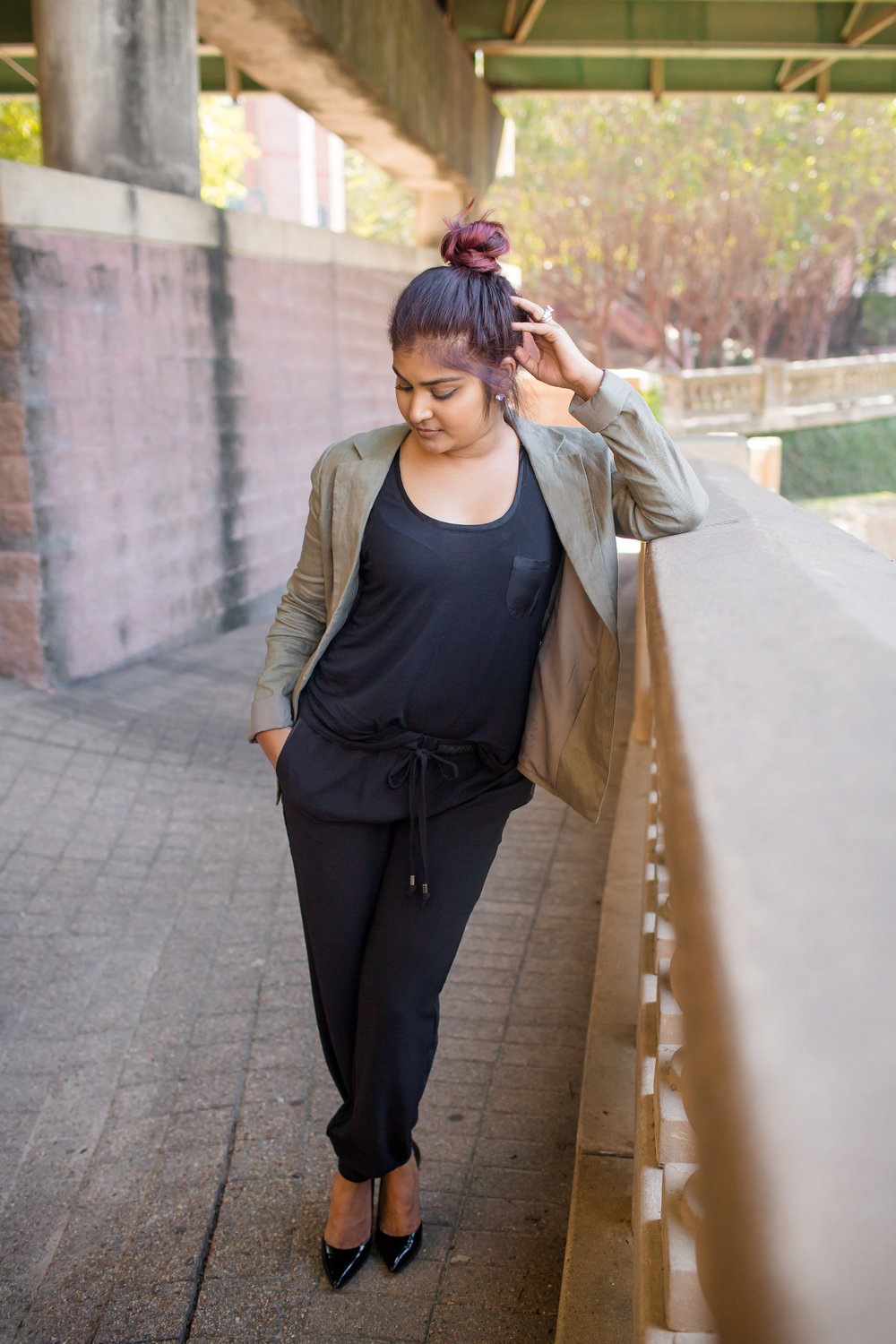 Green Blazer + Black Joggers | Styling by Vashti Co. - Fall Outfit Inspirations