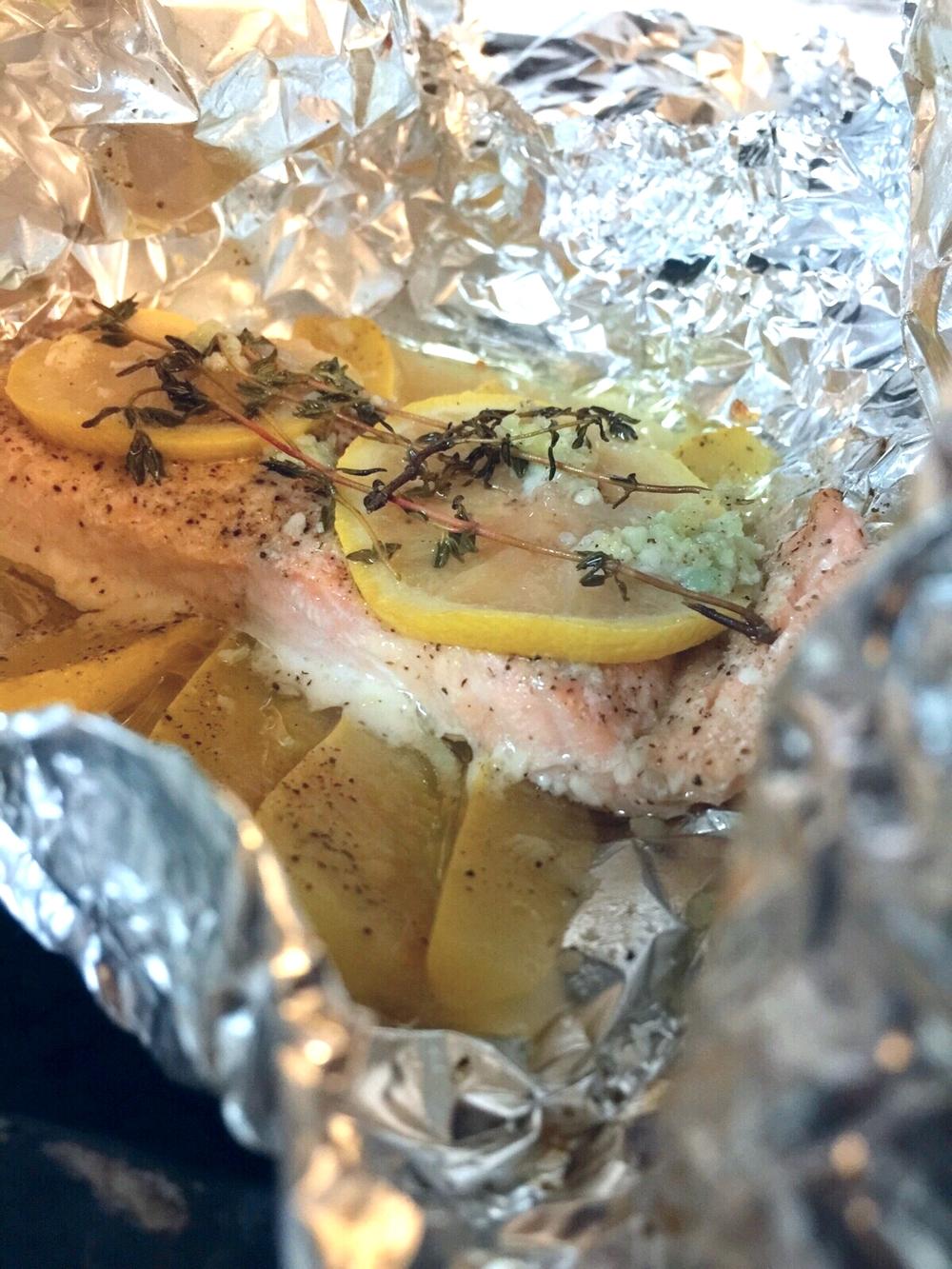 Lemon Garlic Salmon and Parmesan Baked Broccoli | by: Vashti Co.