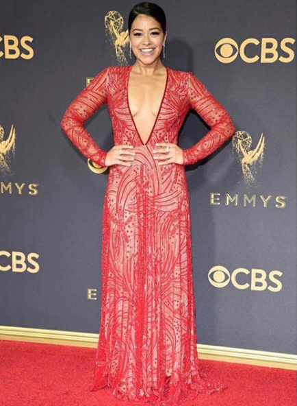 Gina Rodriguez of Jane The Virgin in Naeem Khan