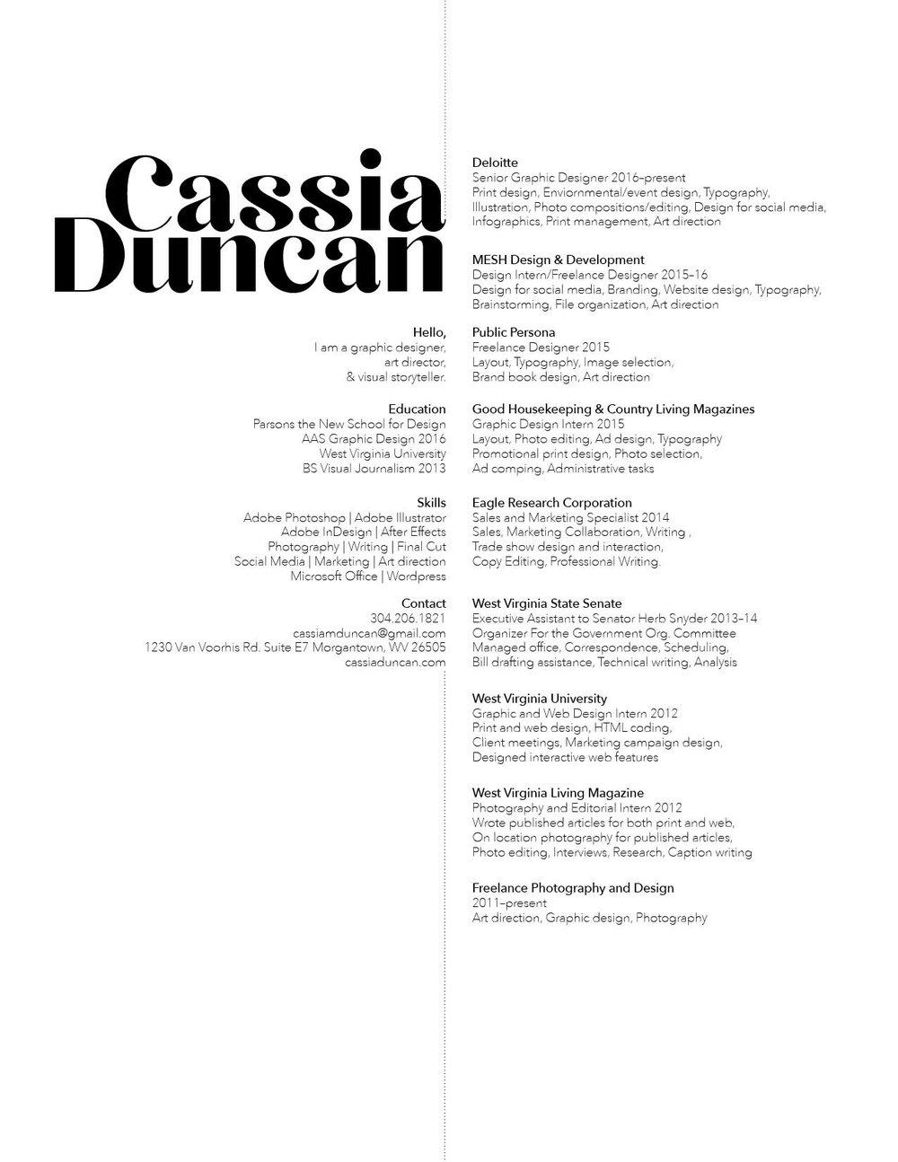Resume Cassia Duncan