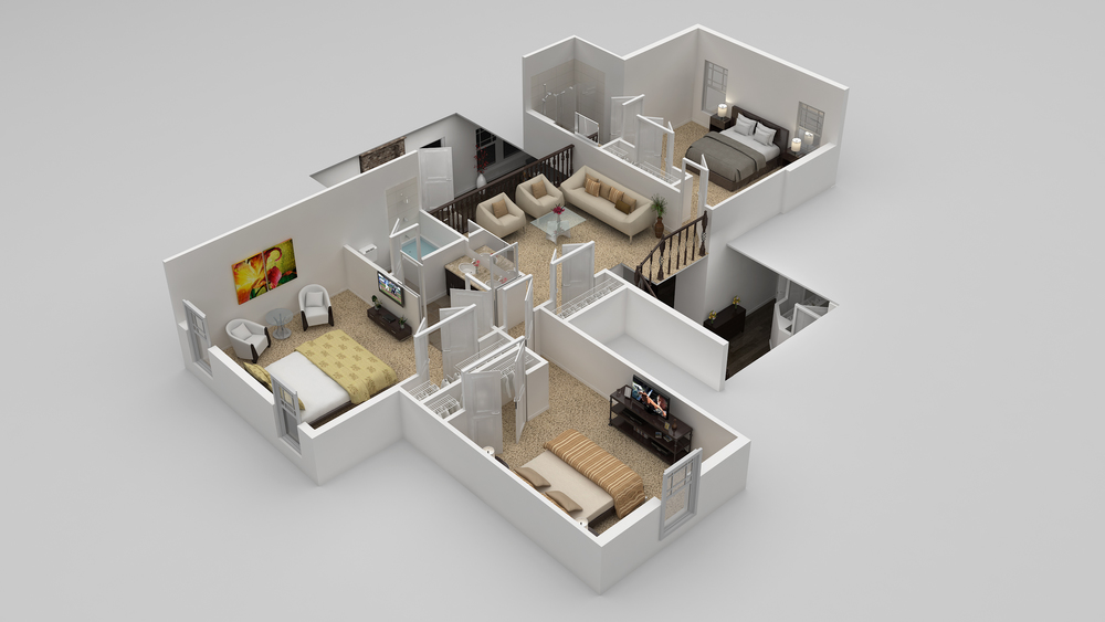 Upper level with three additional bedrooms