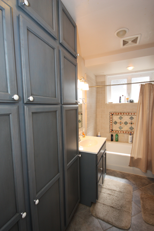 Full Bath: Lower Unit: The lower unit's full bathroom has been completely renovated with updated cabinets, flooring, and vanities. Tiled shower surround.