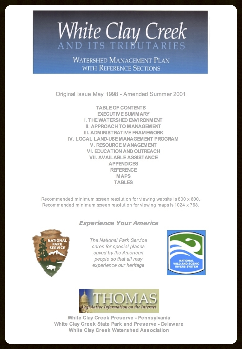 White Clay Creek Watershed and Its Tributaries Management Plan (Ammended 2001)