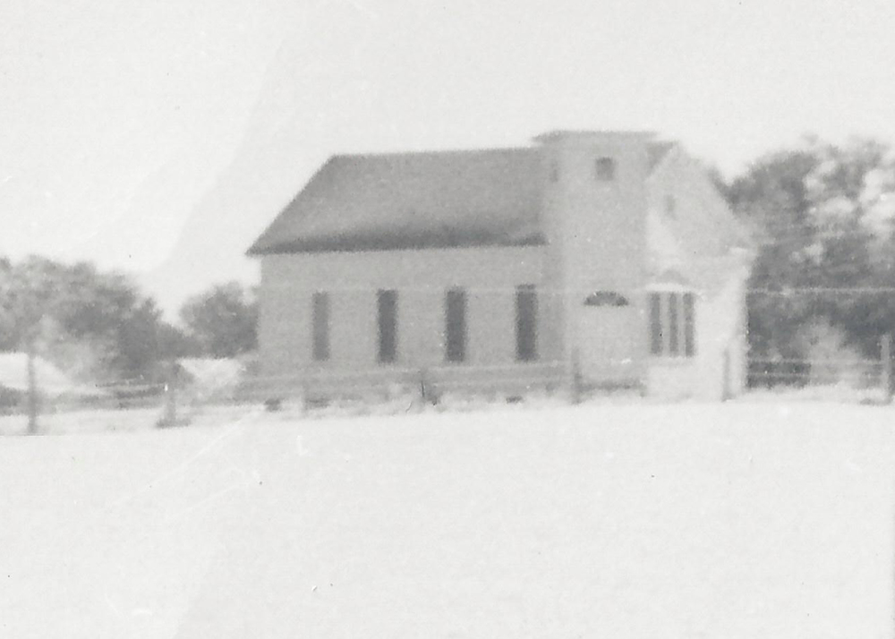 1940s, Burton Baptist Church on a snowy day