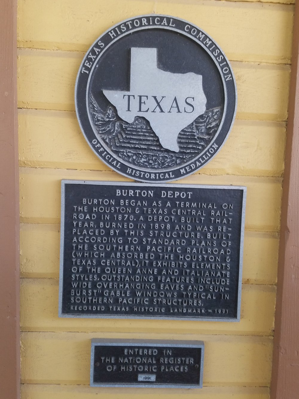 Texas Historical Commission marker placed on depot in 1991 and also entered in The National Register of Historic Places in 1991